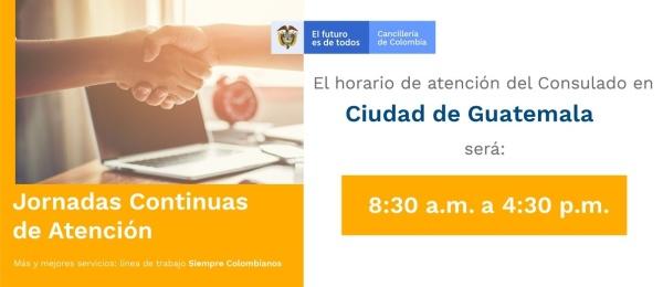 El Consulado de Colombia en Guatemala realizará una jornada continua de atención el 30 de enero